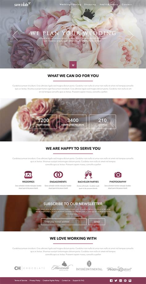 Wedding Planner Free Website Template On Behance Indian Wedding Planner Website Templates Free