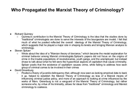 Criminology Theories Essay by The Marxist Theory Of Criminology