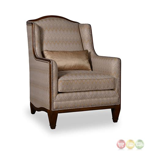 High Back Accent Chair Creme Transitional High Back Accent Chair