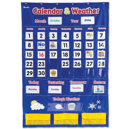 Calendar Chart Calendar Weather Pocket Chart Learning Resources 174