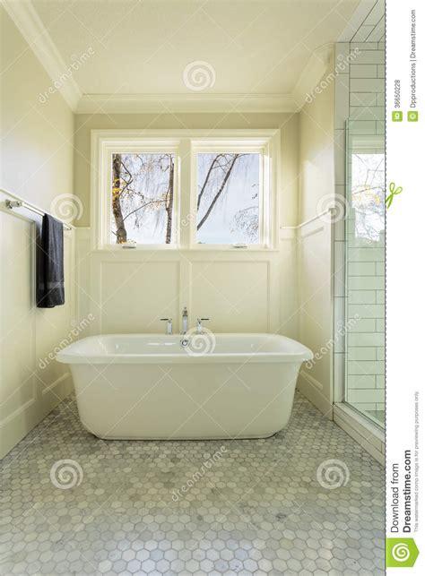 Master Bathroom Bathtub With Windows Stock Photo   Image