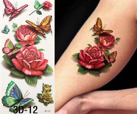 rose temporary tattoos mandy butterfly roses temporary 3d tattoos