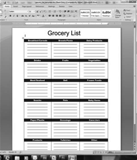 Blank Grocery List Template Free Excel Templates Free Grocery List Template Excel