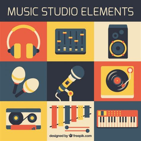 elements music elements of music studio in flat design vector free download