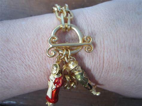 Karl Lagerfeld Gold karl lagerfeld gold gilt enameled chain link bracelet never worn for sale at 1stdibs
