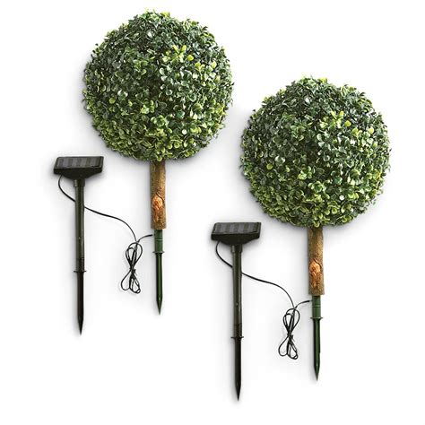2 pk of solar lighted topiaries 218203 solar