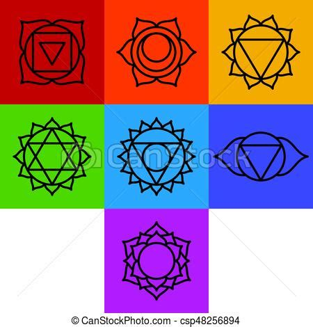 set of seven chakra symbols vector eps vectors search