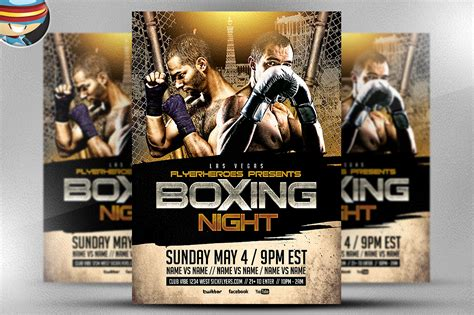 boxing poster template free boxing flyer template 2 flyer templates on