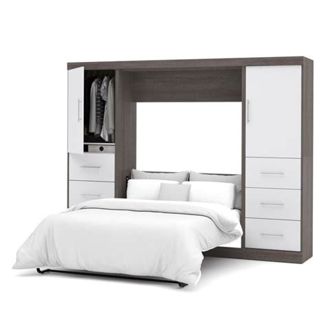 wall bed kit bestar nebula 109 quot full wall bed kit in bark grey and