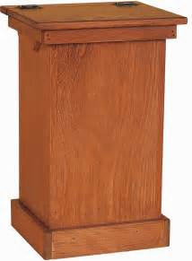 amish pine wood lift top trash bin cabinet