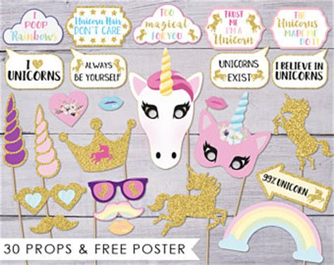 printable unicorn photo props birthday backdrop etsy