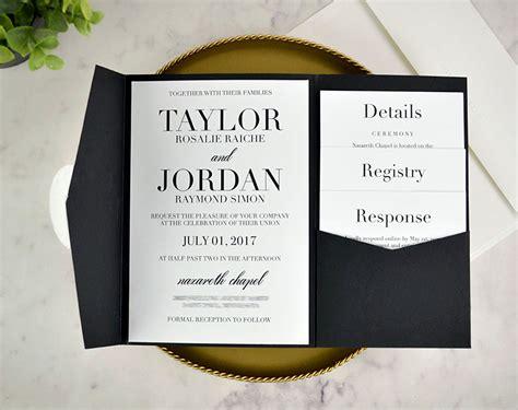 wedding invitations in pocket envelopes real diy wedding invitation classic black white pocket