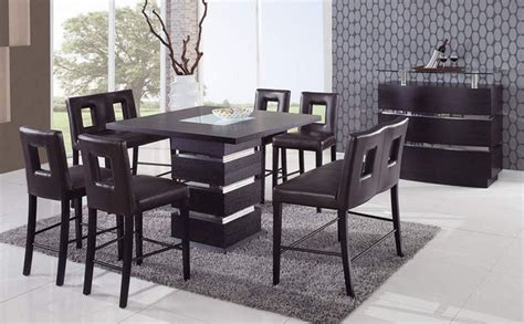 unique sqaure wood and frosted glass top leather modern - Contemporary Kitchen Dinette Sets