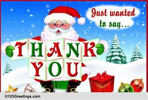 santa saying thank you free thank you ecards greeting