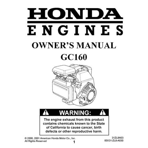 honda gc160 engine users owners operators manual