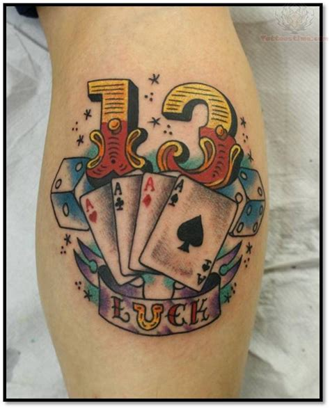 lucky tattoo designs lucky cards and number