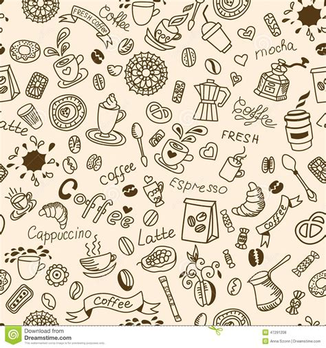 food doodle brushes seamless doodles background with coffee and bakery