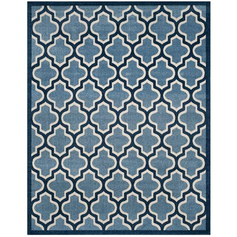 8 X 10 Outdoor Rug Safavieh Amherst Light Blue Navy 8 Ft X 10 Ft Indoor Outdoor Area Rug Amt420q 8 The Home Depot
