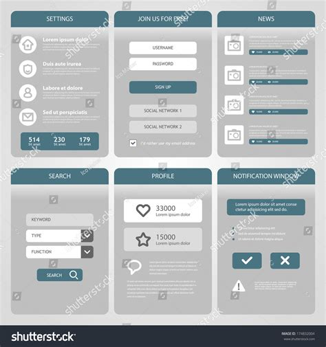 ui design elements vector flat mobile ui design simple mobile stock vector 174832004