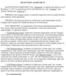 Bonus Agreement Template Retention Agreement Sample Retention Agreement Template