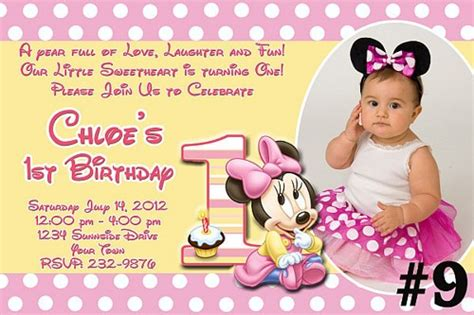 Free1st Birthday Wording For 99 162 Invitations Baby Minnie Mouse Custom Photo Birthday Invitation You Print Treasuredinvitations