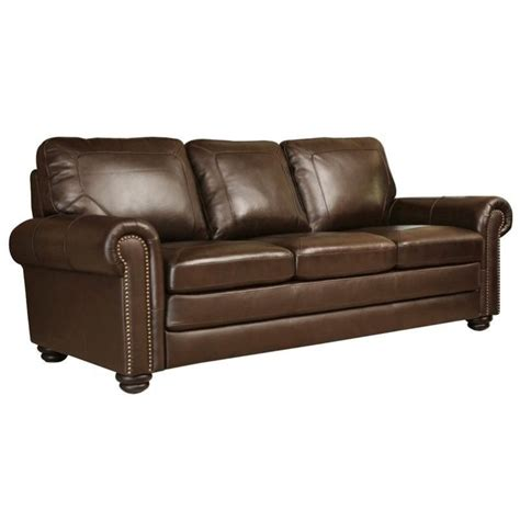 Abbyson Leather Sofa Abbyson Living Bronston Leather Sofa In Brown Sk 2319 Brn 3