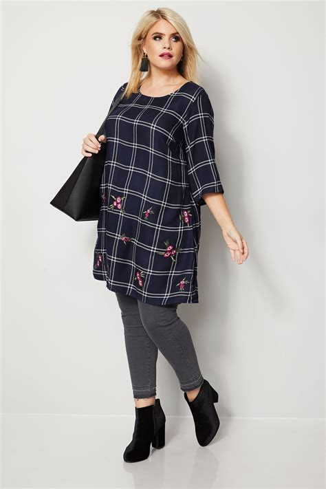 Minimal Embroidery Tunic navy ecru check tunic with embroidery plus size 16 to 36