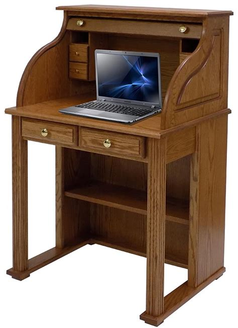 Roll Top Computer Desks For Home 29 Quot W Solid Oak Roll Top Vintage Laptop Desk