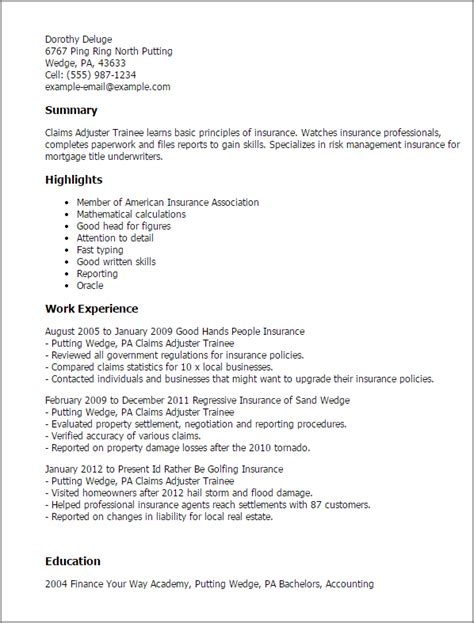 Insurance Adjuster Trainee Cover Letter by Claims Adjuster Trainee Resume Template Best Design