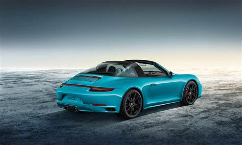 miami blue porsche targa porsche 911 targa 4 gts sportdesign looks every bit the