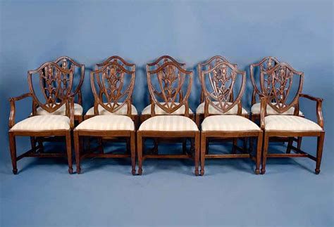 set of 10 shield back mahogany dining chairs for sale