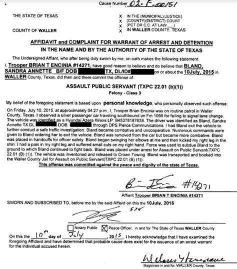 Texas Officials Release Dash Cam Footage In Sandra Bland Investigation The Last Refuge Probable Cause Affidavit Template
