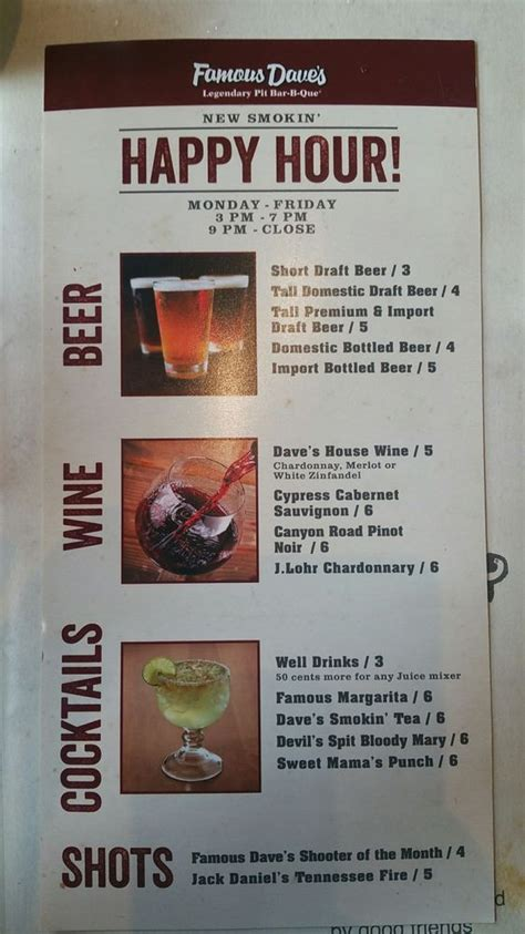 The happy hour drinks menu - Yelp Famous Dave's Menu