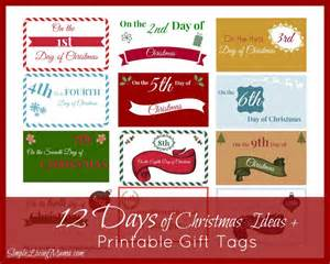 the 12 days of christmas ideas printable gift tags simple living mama