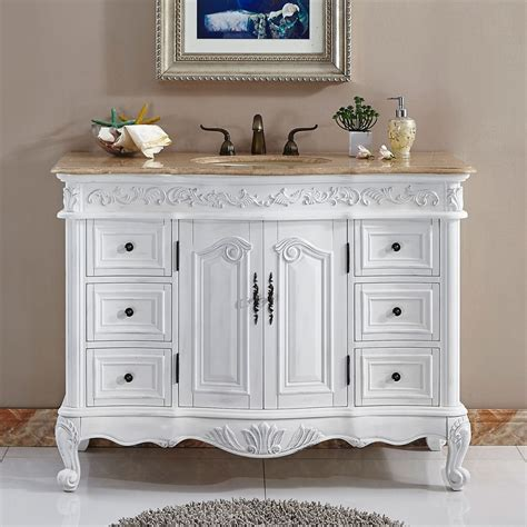 White Bathroom Vanity With Sink Shop Silkroad Exclusive Ella Antique White Undermount Single Sink Bathroom Vanity With