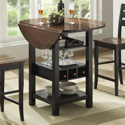 pub table with leaf bernards ridgewood drop leaf pub table with wine rack