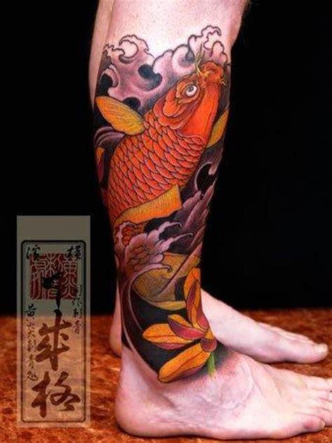 koi fish thigh tattoo this lower leg koi ink land tattoos koi