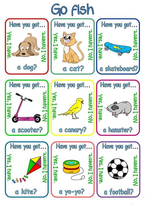 printable animal go fish cards go fish have you got has she got has he got