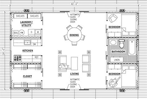 shipping container studio apartment floor plan
