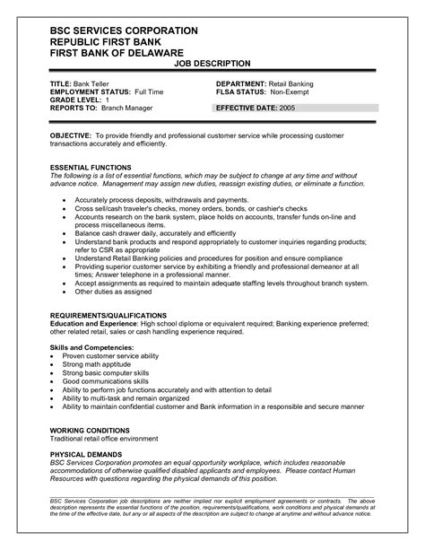 Resume Sles Bank Teller Teller Description Resume Bank Teller Duties And Responsibilities