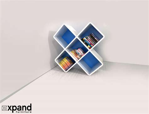 x shaped decorative bookshelf
