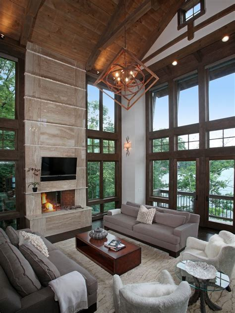rustic modern living room with pendant light cushion back
