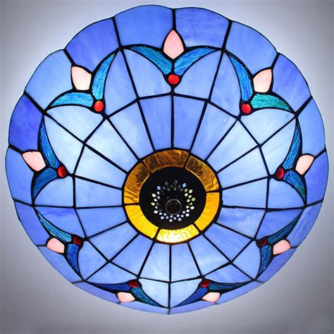 Tiffany Style Stained Glass Ceiling Lighting Fixture Flush Stained Glass Flush Mount Ceiling Light