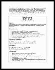 Certified Nursing Assistant Resume No Experience Cna Resume Sle With No Work Experience