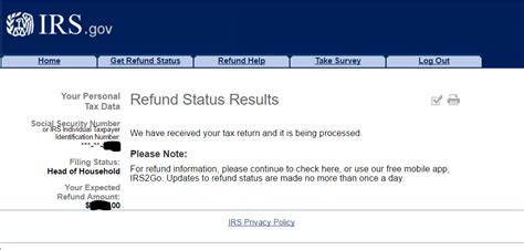 path act message disappeared on where s my refund irs