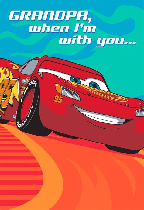 Disney Pixar Cars Lightning Mcqueen Fathers Day Card For