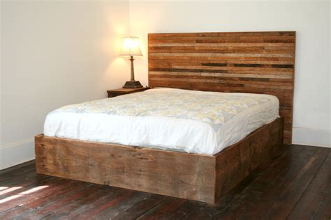 bedroom rustic varnished reclaimed wood platform bed