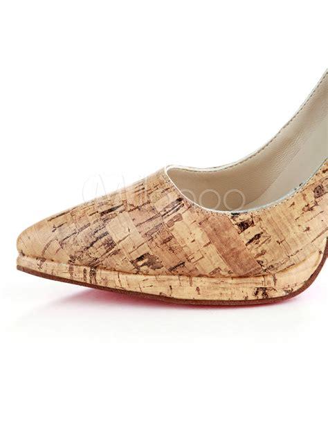 W Fashion Shoes 089 3 4 1 3 high heel yellow pu womens fashion shoes milanoo