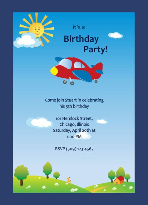 birthday invitation card template for boy skies airplane ride boys birthday invitation