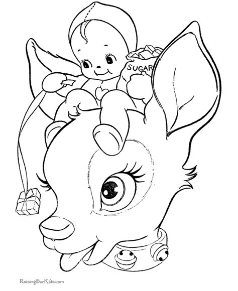 free printable baby reindeer christmas coloring page for kids cute reindeer christmas coloring pages